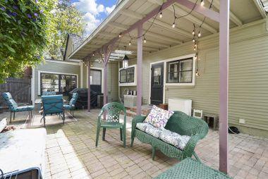 Side patio off the kitchen. Eat breakfast or dinner on this private patio.