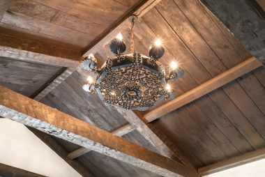 Magnified view of the living room ceiling lighting fixture.