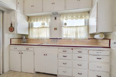 Kitchen with vintage tile counter top.