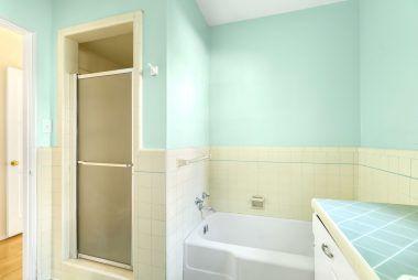 Vintage hallway bathroom with separate tub and shower.