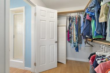 Wow! Large walk-in closet with doorway to private master bath.