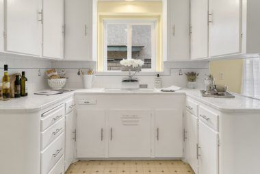 Light and bright kitchen can either remain vintage and charming, or go big and bold with modern counters and appliances.