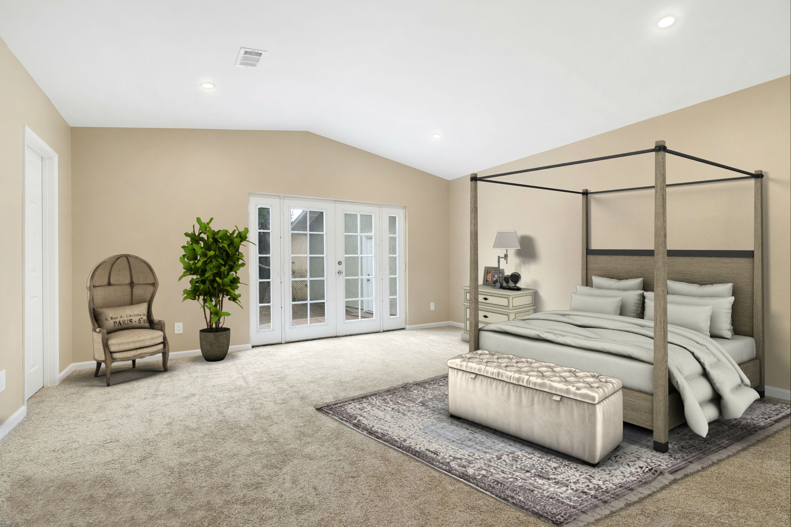 Double door entry leads to the spacious master suite with vaulted ceiling, recessed lighting, brand new carpet, walk-in closet, private bathroom, and French doors leading to back yard (install a spa right out back and you're all set). This is a virtually staged photo.
