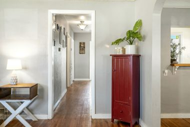 View of hallway to bedrooms from the living room.