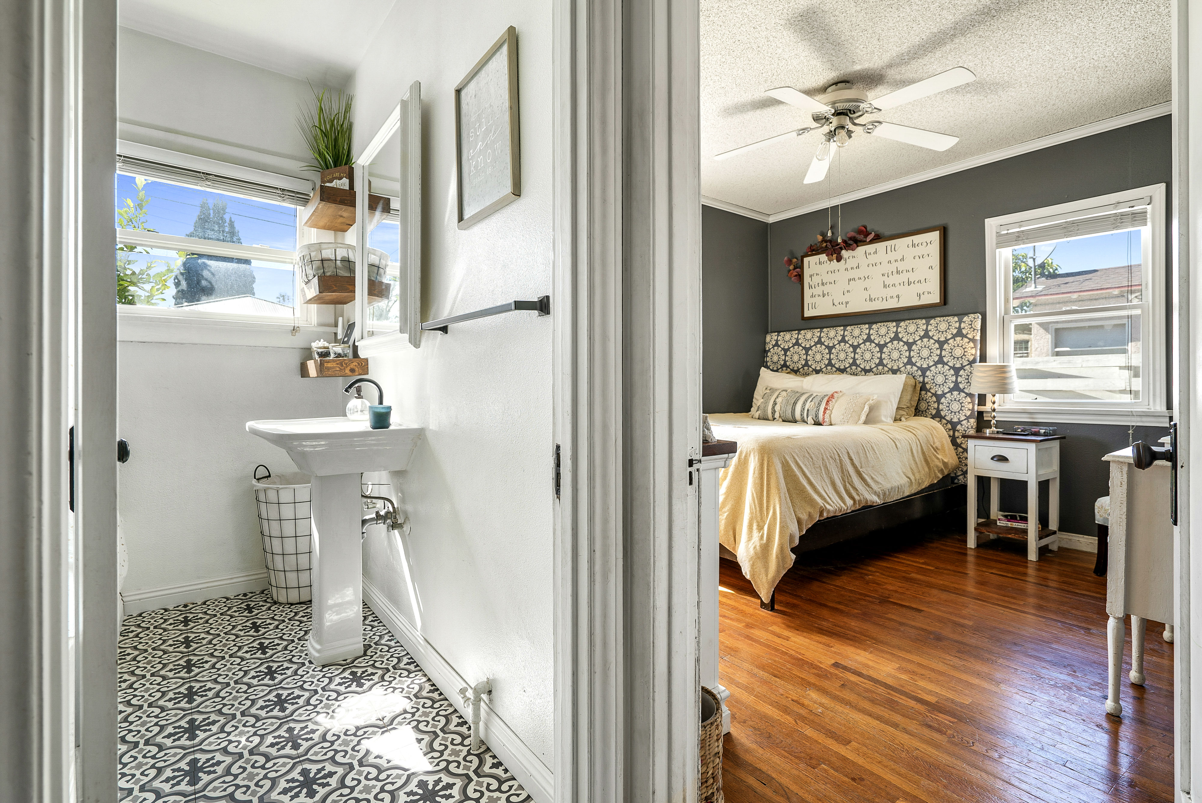 View into the bathroom and the master bedroom.