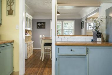 Pass through from kitchen to dining room makes the dining experience feel more open.