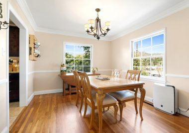 Formal dining room with view of Mt. Rubidoux.