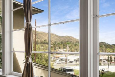 Magnified view of Mt. Rubidoux through the living room window.