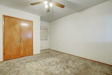 Alternate view of large back bedroom with double door closet.