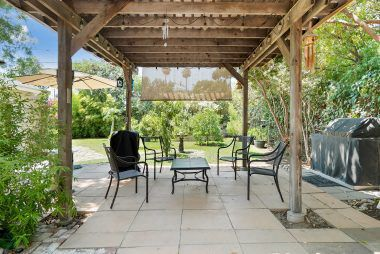 Gazebo with electricity, ideal for entertaining year-round.