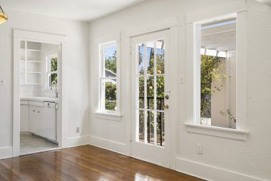 Side French door to outside.