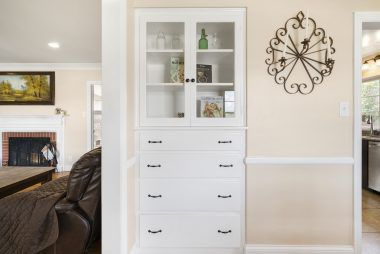 Built-in hutch and drawers in the formal dining room.